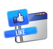 Like us sign and web browser Royalty Free Stock Photography