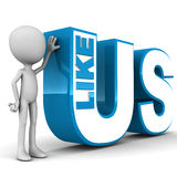 Like us. On social networking websites concept, little 3d man standing by text on white background Royalty Free Stock Images