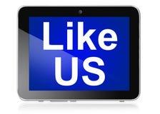 Like us on tablet Stock Photos