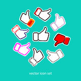 Thumbs set. Thumbs up and down, heart signs on colorful round flat vector icons. Simple buttons with user feedback for social netw Royalty Free Stock Photo