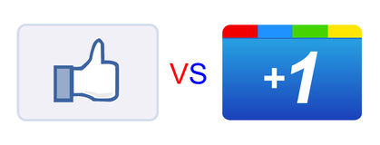 Like vs plus 1 button Stock Photo