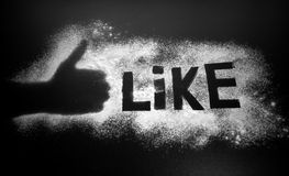 Like word on flour. Social word on black background Royalty Free Stock Images
