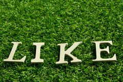 Like wording placed on artificial green grass. Background Stock Photography