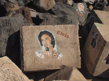 Likeness of Elvis on the stone. Painting. Graffiti. Elvis alive forever Royalty Free Stock Photos