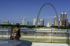 Likeness of Statue of Malcolm Martin and view of St. Louis Royalty Free Stock Images