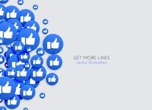 Likes background with blue thumb up icons. Illustration Royalty Free Stock Image