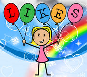 Likes Balloons Indicates Social Media And Bunch Stock Photo