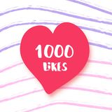 1000 likes thank you post. Vector illustration. 1000 likes  banner with heart shape on lines background. Celebration 1k like card for social networks. Template Royalty Free Stock Photography