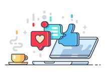 Likes and comments on social network. Laptop and cup with coffee. Vector illustration Stock Images