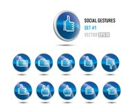 Likes & dislikes and more!. A set of social buttons showing different gestures Stock Illustration
