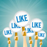 Likes Hand Signs. Vector illustration of several hands holding likes signs Stock Photography