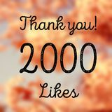 2000 likes. Social media achievement. Company online community thank you note. 2k follows Royalty Free Stock Photography