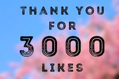 3000 likes. Social media achievement. Company online community thank you note. 3k follows Royalty Free Stock Photography