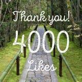 4000 likes. Social media achievement. Company online community thank you note. 4k likes stock illustration