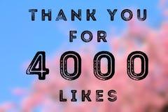 4k likes. 4000 likes - social media achievement. Company online community thank you note. 4k likes Stock Image