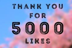 5000 likes. Social media achievement. Company online community thank you note. 5k likes Royalty Free Stock Image