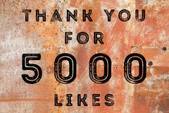 5000 likes. Social media achievement. Company online community thank you note. 5k likes Stock Photography