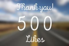 500 likes. Social media achievement. Company online community thank you note Royalty Free Stock Image