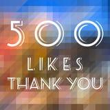 500 likes. Social media milestone achievement. Online community thank you note. 500 follows stock illustration