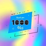 1k likes thank you. Vector illustration. 1000 likes thank you card. Template for social media. Vector illustration Stock Photos