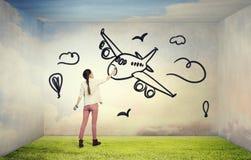 She likes traveling . Mixed media Stock Photo