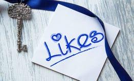 Likes word. Conceptual inspirational Stock Photo