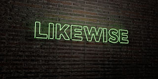 LIKEWISE -Realistic Neon Sign on Brick Wall background - 3D rendered royalty free stock image Royalty Free Stock Photos