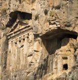 Likijsky tombs på floden Daljan, Turkiet Royaltyfri Foto