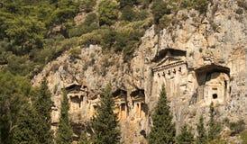 Likijsky tombs på floden Daljan, Turkiet Royaltyfri Fotografi