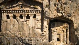 Likijsky tombs på floden Daljan, Turkiet Royaltyfri Bild