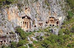 Likijsky tombs on the river Daljan, Turkey Royalty Free Stock Photos