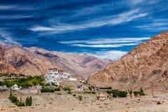 Likir Gompa西藏佛教徒修道院在喜马拉雅山 免版税图库摄影
