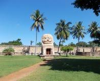 Liknar den utvändiga templet för strukturen ett lejon royaltyfri foto