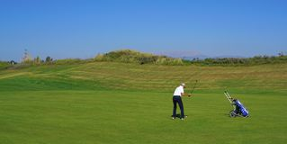 Golf players are enjoying Likya Links Golf course at sunny day in  Antalya stock image