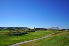 Golf players are enjoying Likya Links Golf course at sunny day in  Antalya royalty free stock photos