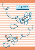 Lil Flyer. Vector illustration of a cute air planes on a striped background Royalty Free Stock Photo