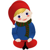 Lil gnome. Siting happily, isolated on white  background Royalty Free Stock Photography