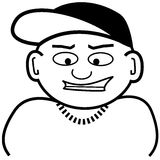Lil homie. Black and white drawing / clip art of a little man sporting a baseball cap Stock Photo