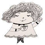 Lil Lady Tea Party. Clip art illustration of a lil lady holding a cookie and cup Stock Image