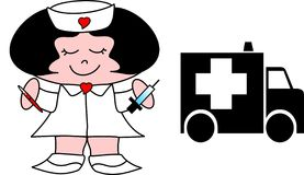 Lil Nurse. Illustration of a little nurse, holding a thermometer and syringe Royalty Free Stock Photography