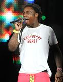 Lil Wayne presteert in overleg royalty-vrije stock afbeelding