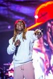 Lil Wayne que executa na fase em Europa, Portugal no festival de música MEo Sudoeste imagens de stock royalty free