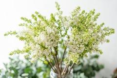 Lila blanca del manojo en el florero de cristal Flores del ramo en fondo ligero wallpaper Árboles florecientes de la primavera imágenes de archivo libres de regalías