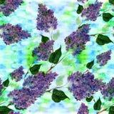 Lila - blommor och sidor seamless modell Abstrakt tapet med blom- motiv wallpaper Arkivbild