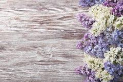 Lila Blumen auf hölzernem Hintergrund, Blütenniederlassung auf Weinleseholz Stockfotos