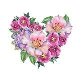 Lila Blumen des Frühlingsblumenstraußes, Aquarell, Muster Stockfotografie