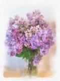 Lila de la acuarela Acuarela un ramo de lilas Tarjeta de felicitación con los dibujos de la acuarela de la lila Foto de archivo