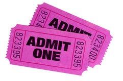 Lila- eller rosa färgbiljetter Arkivbild