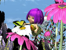 Lila Fliar - 01. Lila Fliar is from a small family of flower pixies and loves to fly amongst the flowers and tease the butterflies Royalty Free Stock Images