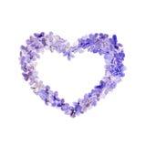 Lila Kranz des Aquarells in der Form des Herzens Stockbilder